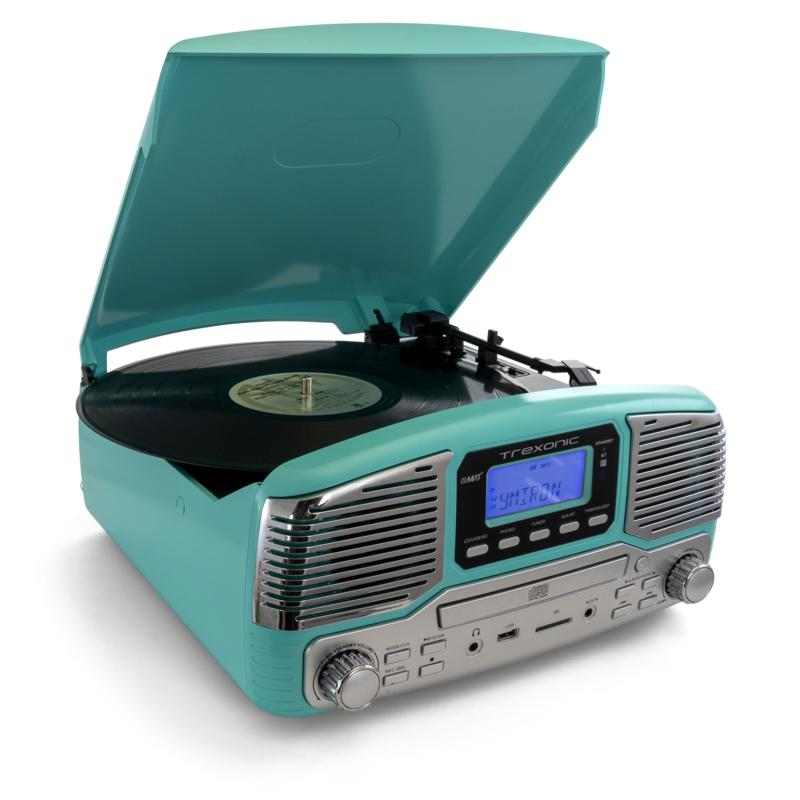 Trexonic Retro Wireless Bluetooth, Record and CD Player - Turquoise