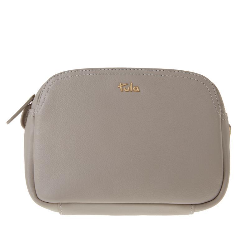 Tula England Small Zip-Top Grainy Leather Crossbody Bag