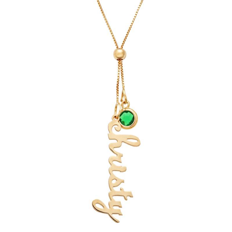 Vertical Name & Birthstone Crystal Adjustable Necklace