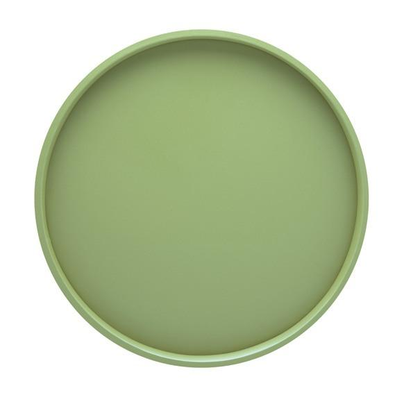 "Vinyl-Covered Round Serving Tray - 14""/Mist Green"
