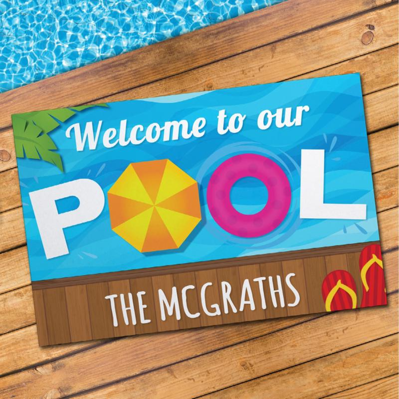 Welcome To Our Pool Personalized Standard Doormat