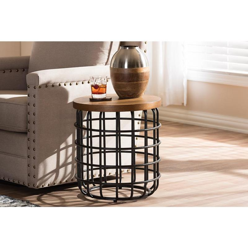 Wholesale Interiors Carie Accent Table - Black Metal/Distressed Wood