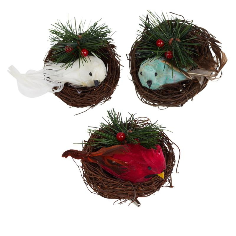 Wind & Weather Set of 3 Feather Birds with Nest Ornaments