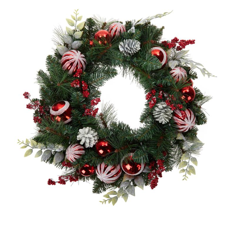 "Winter Lane 24"" Lit Ornament Wreath"