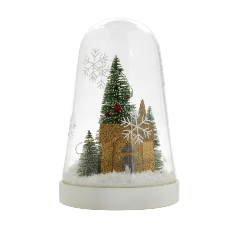 Winter Lane Glass Tabletop Holiday Cloche with LEDs and 4-Hour Timer