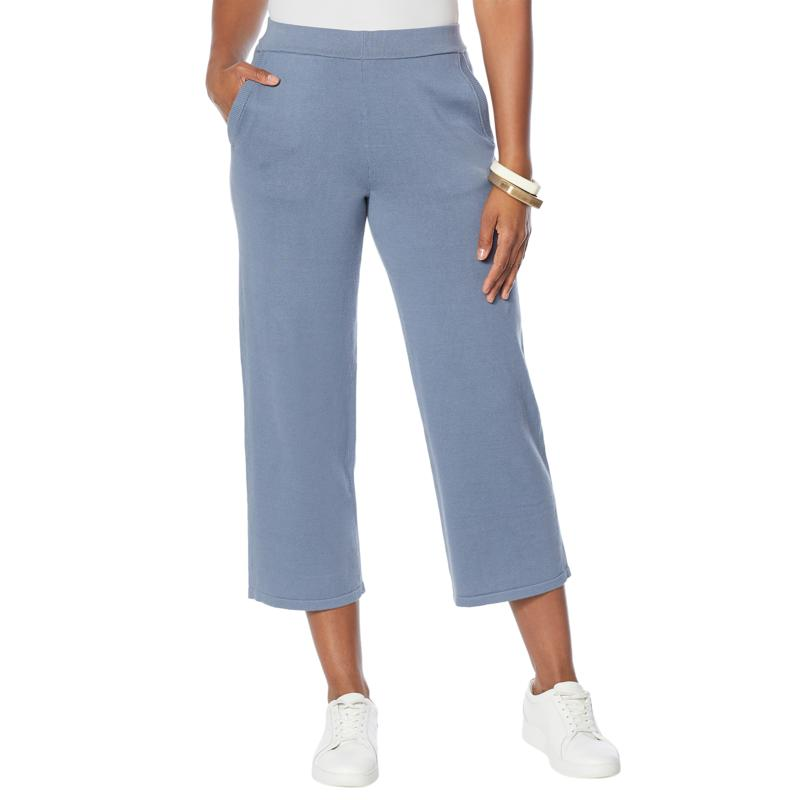 WynneLayers Sweater Knit Straight-Leg Pull-On Crop Pant