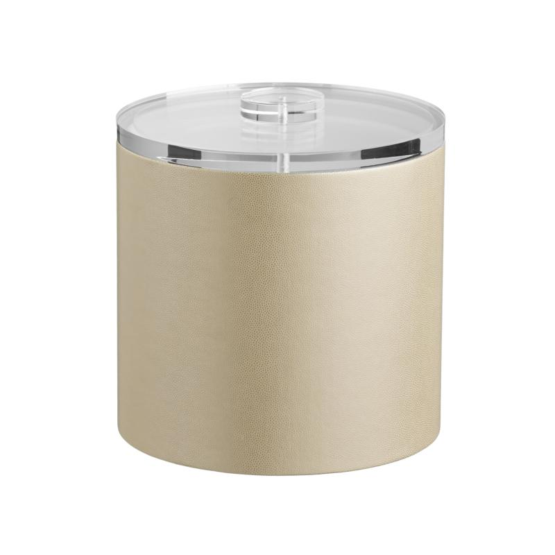 Zappa Tall 3-Quart Beige Ice Bucket with Lucite Lid